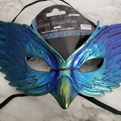 Raven Halloween mask w/curved beak. Iridescent mulficolor. New with Tags.