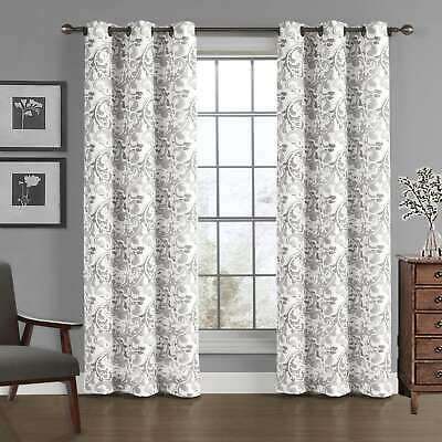 Grommet Top Drapes (Pair of Curtains/Drapes in Gray Color Scroll-pattern Grommet Top Panel Pair NEW! )