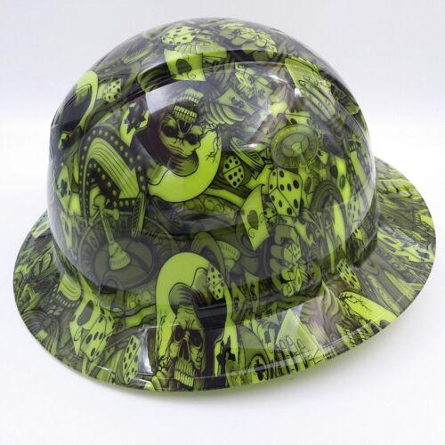 FULL BRIM Hard Hat custom hydro dipped , NEW DEALERS CHOICE LIME  HOT NEW  1