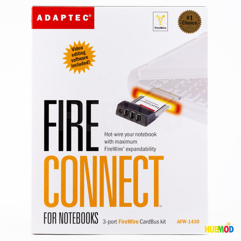 NEW Adaptec 3-Port FireWire IEEE 1394 CardBus Kit AFW-1430 for Notebooks Laptops