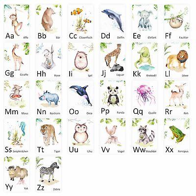 enkarten ABC Lernkarten Alphabet Schule  (Tier Buchstaben)