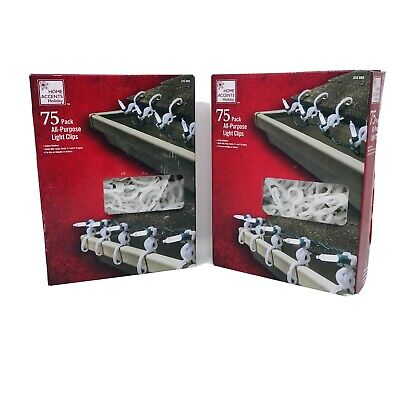 *2 BOXES* Home Accents Holiday All-purpose Christmas Light Clips 75 Count = 150