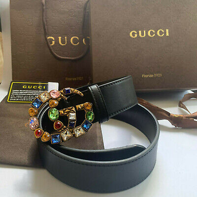 Classic Gucci colorful gemstone double G buckle belt, size 95 cm