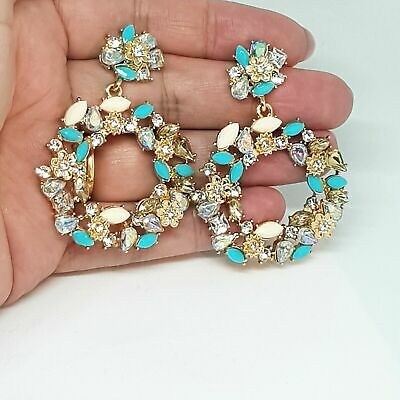 Turquoise Ivory Crystal Hoop Earrings Statement Zara Style Drop Large Wreath