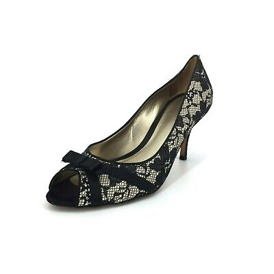 Peep Toe Lace Bow Pump - Ann Taylor Lace Overlay Stiletto Heel Peep Toe Pump Black Size 8.5 Bow Flowers