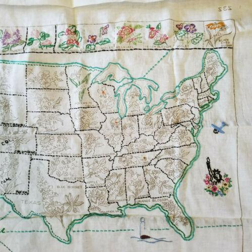 Unfinished Embroidery Embroidered United States US Map Needlecraft Stitchery Kit