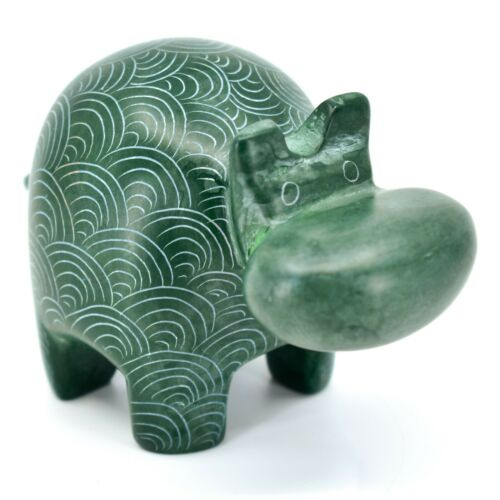 Vaneal Group Hand Crafted Carved Soapstone Green Hippopotamus Hippo Figurine