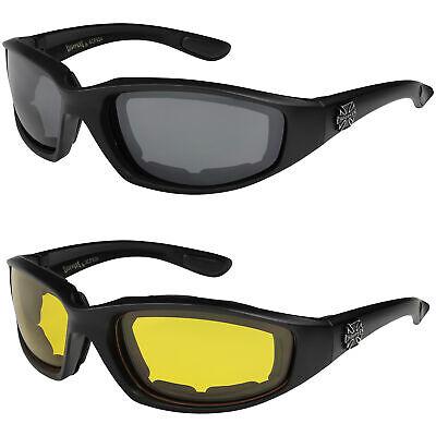 2er Pack Choppers 924 Locs Biker Brille Sonnenbrille Männer Frauen schwarz rot