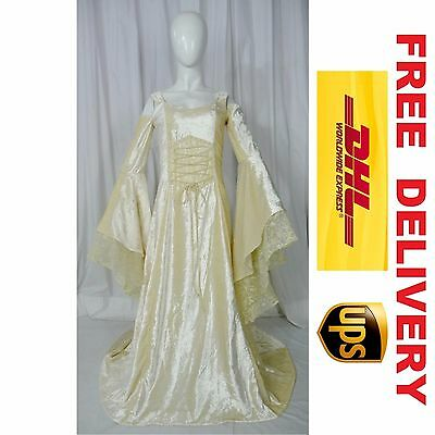 MEDIEVAL RENAISSANCE FANTASY WEDDING HANDFASTING GOWN DRESS COSTUME (20L-L)