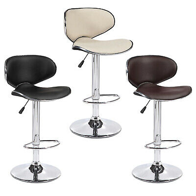 Set of 2 Bar Stools Counter Height Adjustable Leather Swivel Dining -