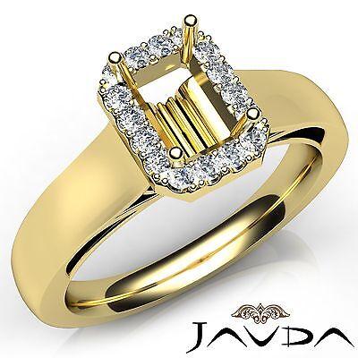 Emerald Semi Mount Ring - Emerald Cut Diamond Engagement Halo Prong Semi Mount Ring 18k Yellow Gold 0.2Ct