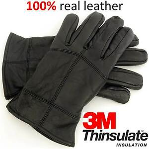 Mens-Thinsulate-Warm-Winter-Quality-Thermal-Walking-Outdoor-Leather-Gloves