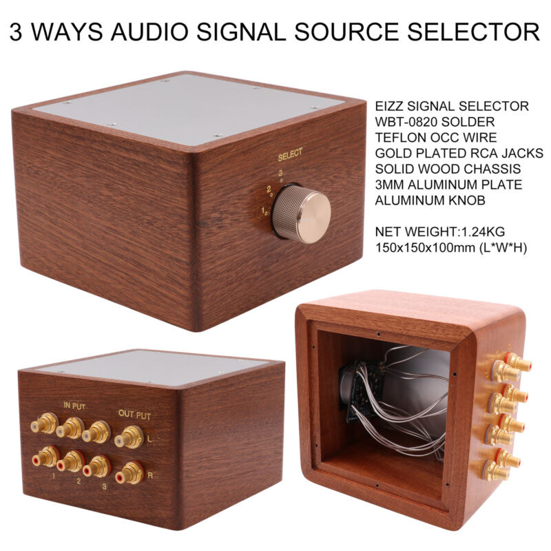 3 Ways Hifi Audio Signal Sources Selector Switch Box Splitter 3 Input 1 Output