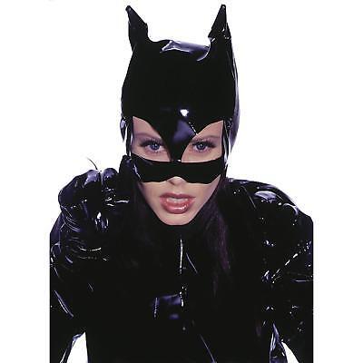 Women's Vinyl Cat Woman Mask Halloween Costume Adult Accessory Black One Size