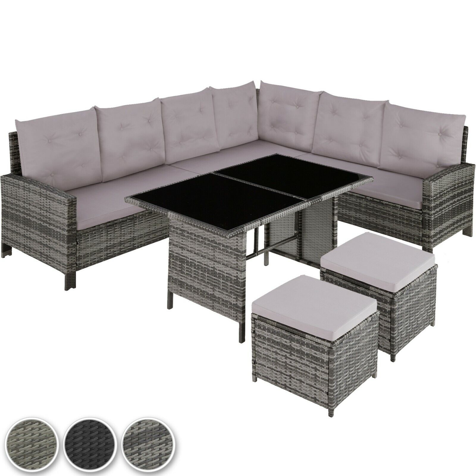 Garden Furniture - Rattan Garden Furniture Lounge Set Dining Group Corner Sofa Table Outdoor Patio