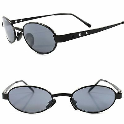 Old stock True Vintage 70s 80s Urban Fashion Mens Womens Black Oval Sunglasses