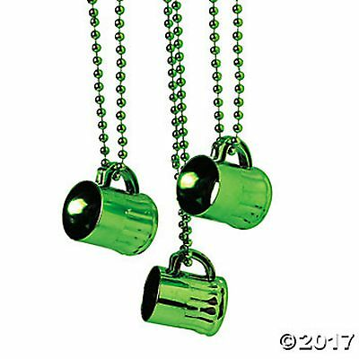 12 Metallic Green Traveling Shot Glasses Bead Necklaces  St. Patrick's, Bar Hop