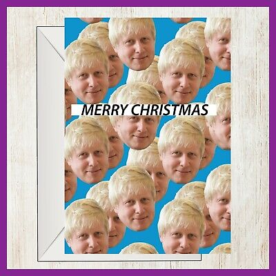 Funny Boris Johnson Merry Christmas Card Tory Conservative Brexit Heads ()