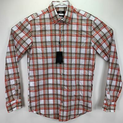a6e2f9b9e Hugo Boss Mens Ronni Slim Fit Long Sleeve Button Down Shirt Plaid M