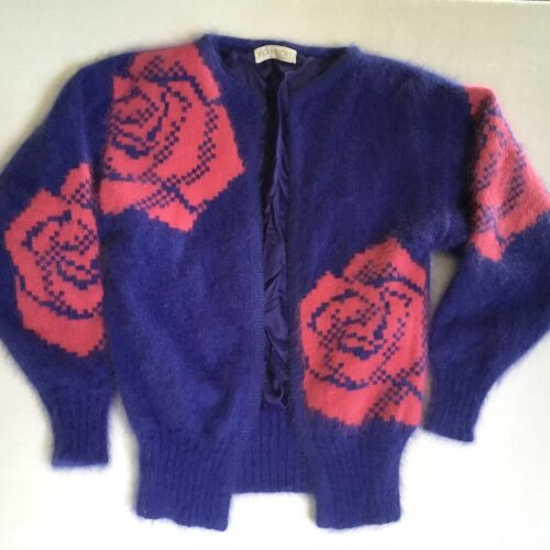 Angora Wool Open Cardigan Sweater Vintage Purple Pink Floral Lined S SOFT Fuzzy