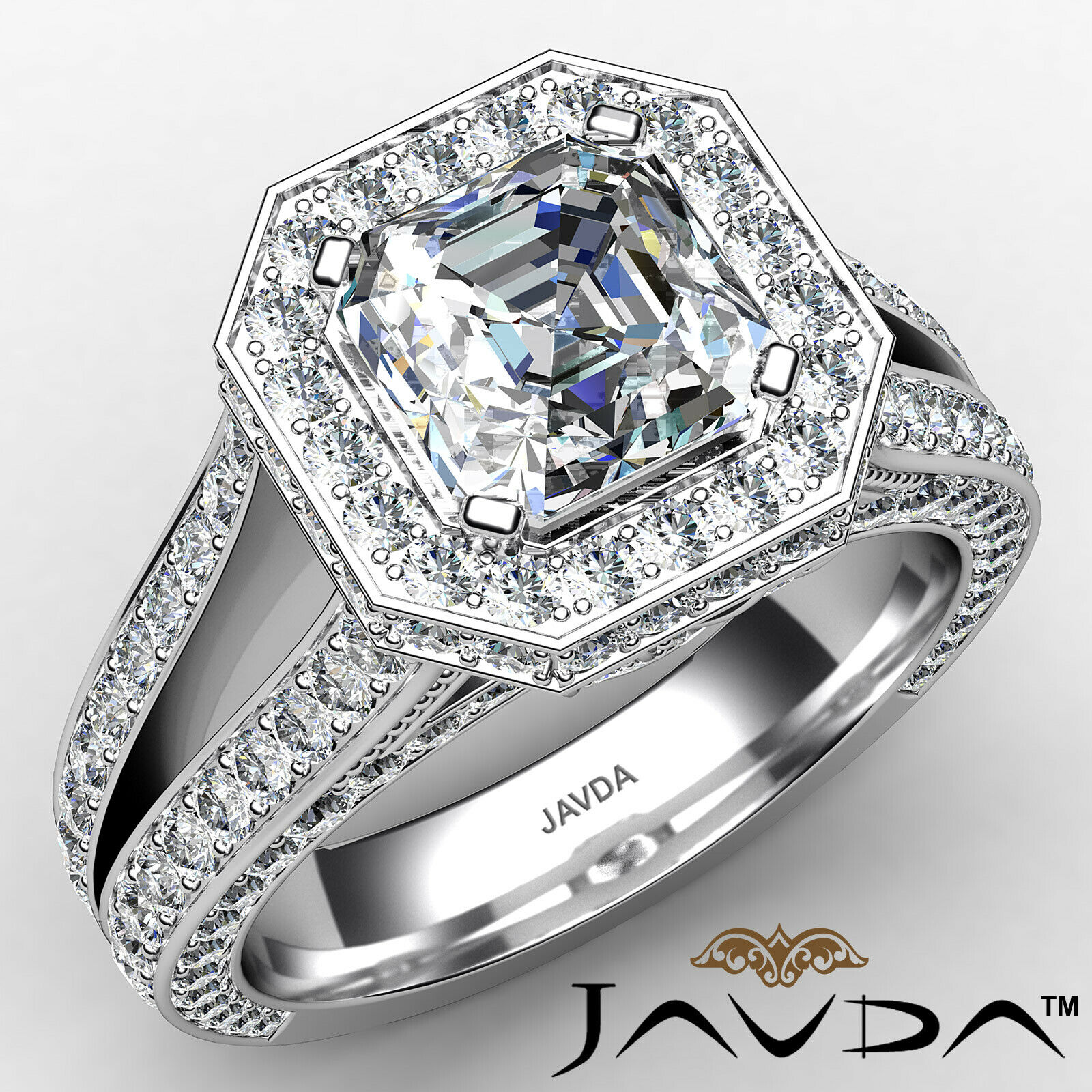 Halo Asscher Diamond Engagement Ring GIA Certified G Color & SI2 clarity 2.4 ctw