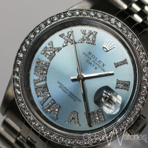 Rolex Custom Iced Roman Numeral Baby Blue Frost Natural Diamond Mens 36mm Watch