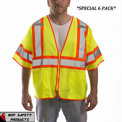 Tingley Reflective Safety Vest Class 3 Hi-vis Lime Construction 6 Pack 2x3x