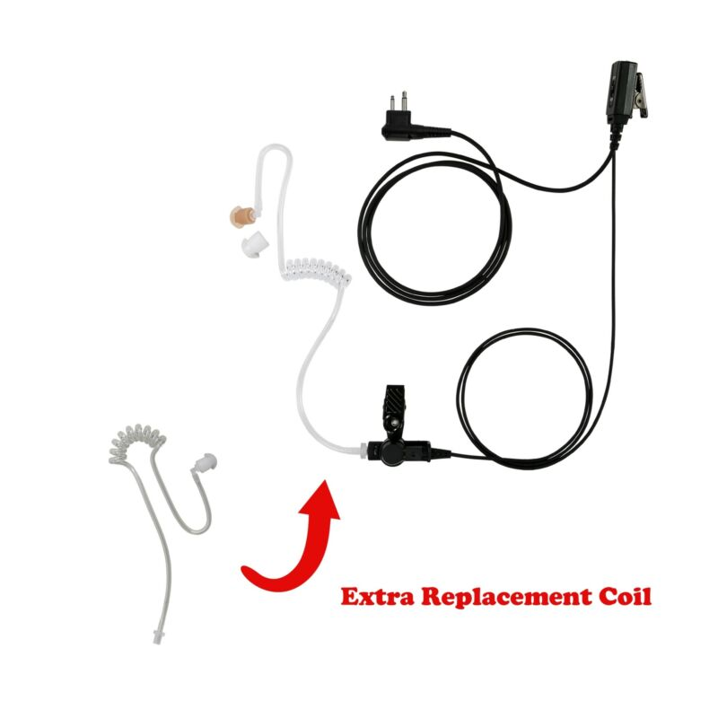 Spare Coil Tube + Durable 1-Wire Surveillance Kit PTT for Motorola CP200 CP110