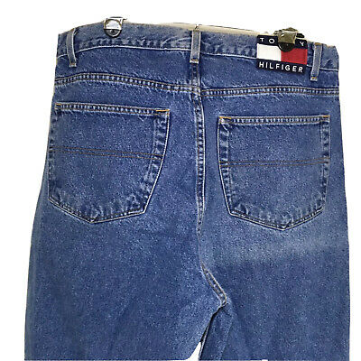 Tommy Hilfiger Mens Jeans Blue Tommy Flag Relaxed 36x31
