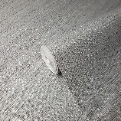 Modern roll Wallpaper Rustic Grey Silver metallic faux grasscloth lines (Metallic Faux Wallpaper)
