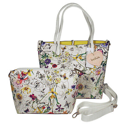 IMOSHION White Floral Saffiano-Texture GIADA 2-pc Reversible 3-in-1 Tote and Bag