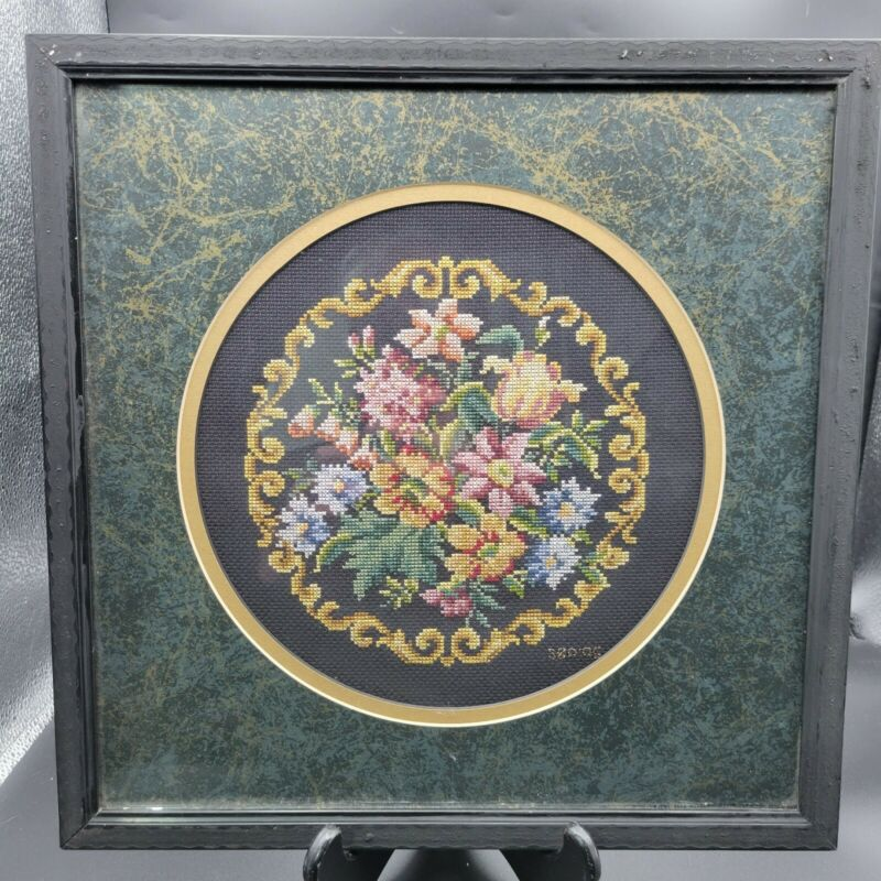 Vtg petite point needlepoint floral picture completed and matted framed, glass