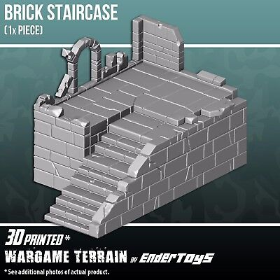 Brick Staircase, Terrain Scenery 28mm Miniatures Wargame, 3D Printed & Paintable