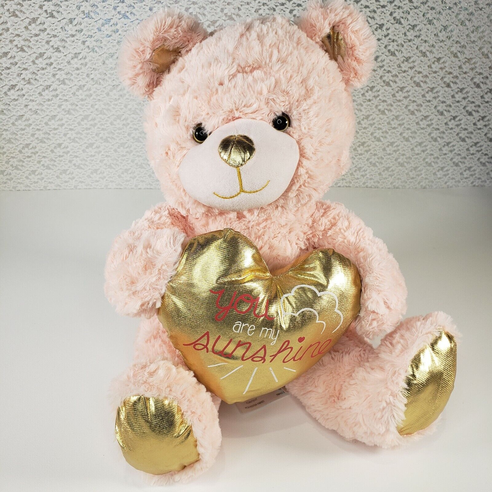 Animal Adventure Pink Teddy Bear Plush You Are My Sunshine Gold Heart Soft Toy - $18.99