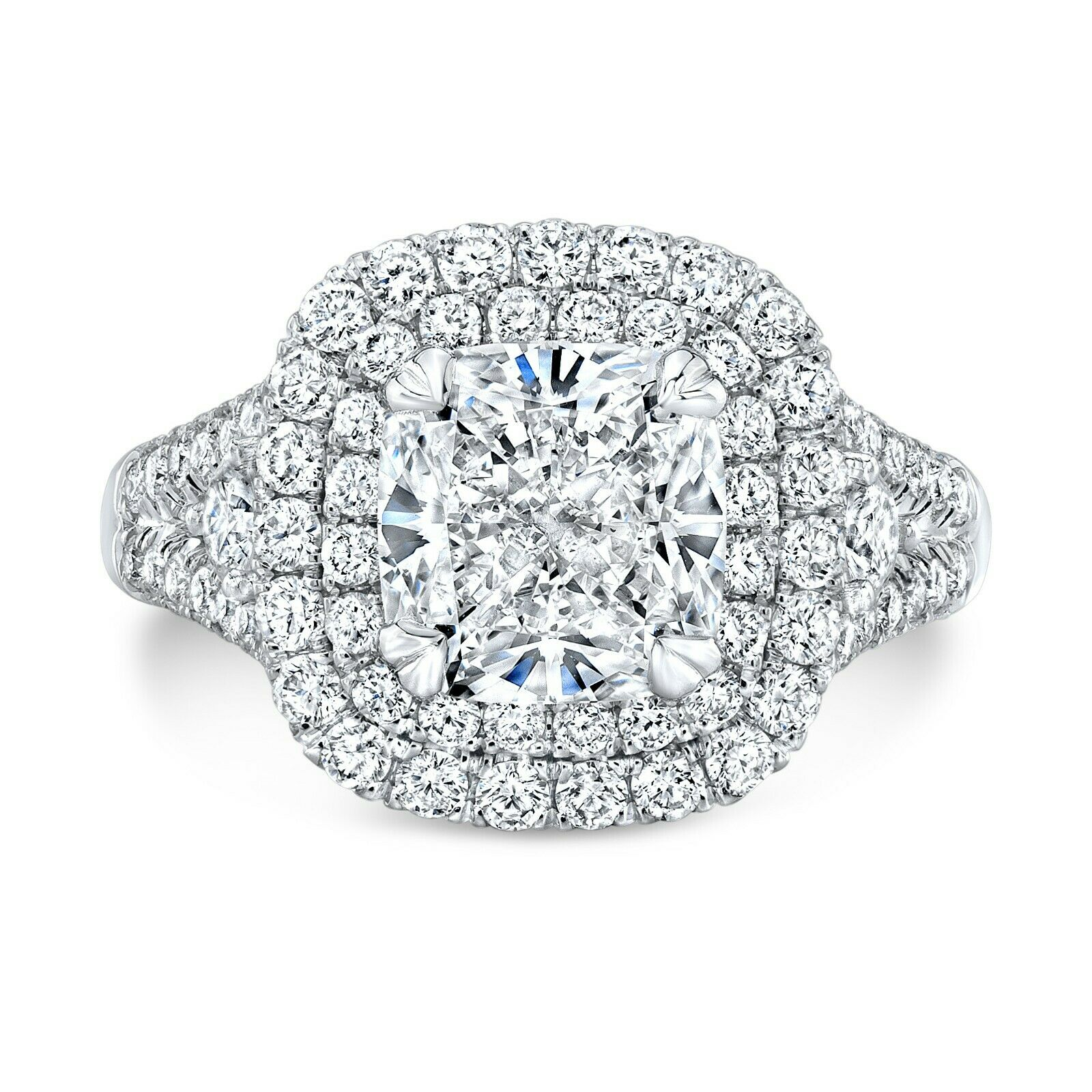 2.60 TCW Natural Cushion Double Halo Split Shank Diamond Engagement Ring - GIA 1