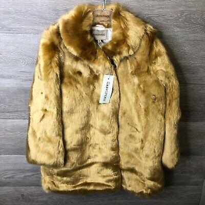 Hucklebones London Girls Size 8 Years Gingerbread Faux Fur Coat NWT