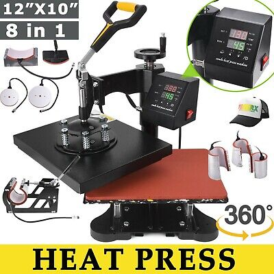8 In 1 Heat Press Machine 12x10 Swing Away Transfer Sublimation T-shirt Mug Hat