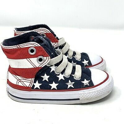 Converse Toddler Baby Infant Sz 5 Slip On Chuck Taylor Shoes American Flag
