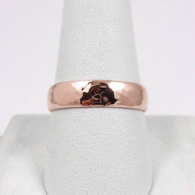 Solid 10K Rose Gold Handmade 5mm Hammer Texture Band Ring, Sizes 3 - 12 5mm Hammered Band Ring