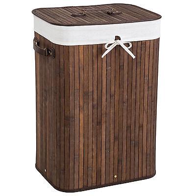 72L Laundry basket bag bamboo folding cloth lid storage hamper 42x31,5x60 brown