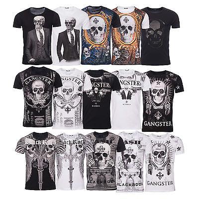BLACKROCK Herren T Shirt SKULL Totenkopf Vintage Party Bling Bling Slim Fit Neu  Skull Bling