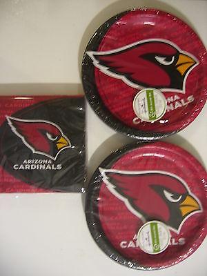 ARIZONA CARDINALS NFL FOOTBALL Party Supplies Includes Plates & Napkins NEW ! (Arizona Cardinals Party Supplies)