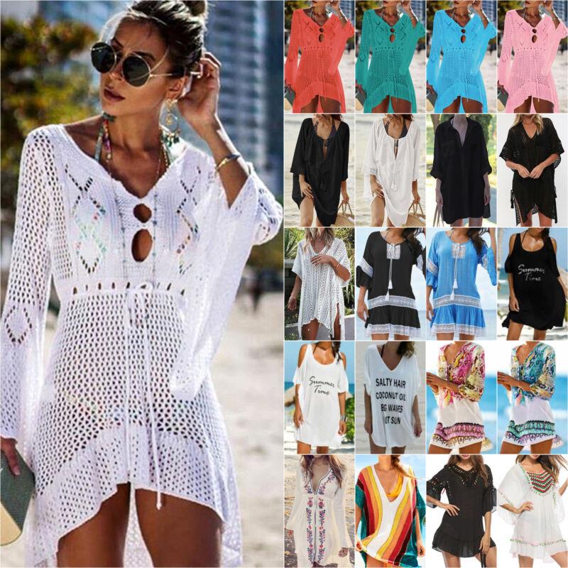 Damen Boho Bikini Cover Up Vertuschung Sommer Strand Minikleid Shirt Bademode
