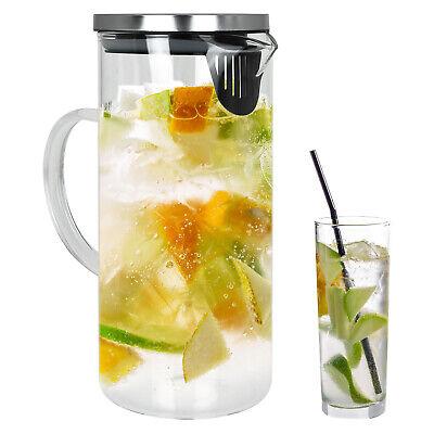 Alpina Glaskaraffe Wasserkaraffe Wasserkrug Glas Krug Sieb Karaffe Kanne 1,3 L