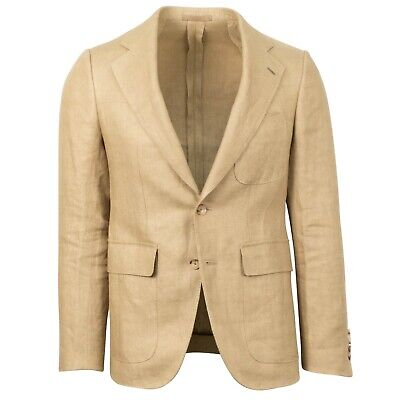 10 Pearl Button Coat - NWT CARUSO Camel Linen 2 Button Sport Coat 46/36 R Drop 10