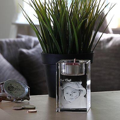 Teelicht Kerze Laser Gravur Geschenkidee 2D Foto in 3D Glas zu Weihnachten Baby