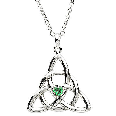 Platinum Plated Women Triquetra Pendant on Chain 19 x 20mm Trinity Knot Motif Plated Trinity Knot