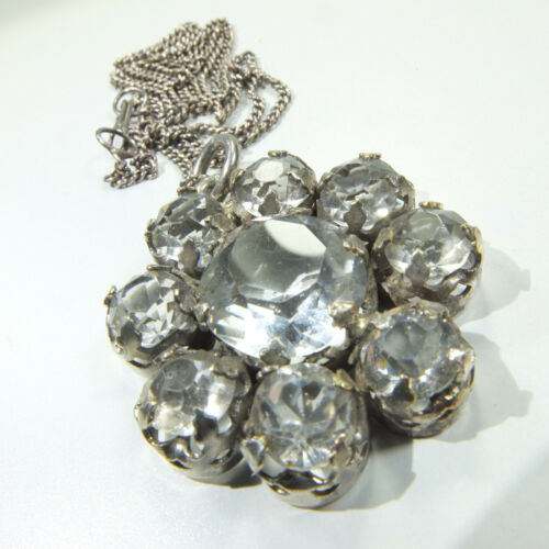 Fine Antique Victorian Silver Paste Pendant/ Silver Diamond Paste Daisy Necklace