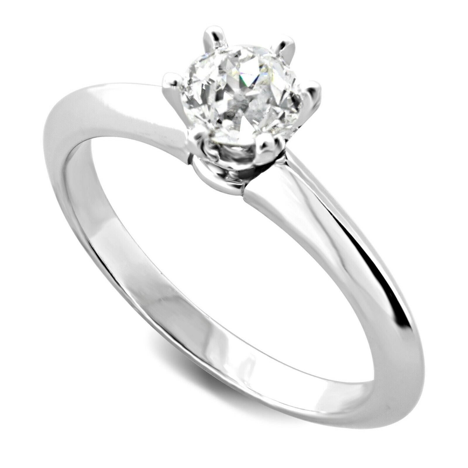 0.60 Carat GIA Certified Diamond Solitaire Engagement Ring in 14k White Gold