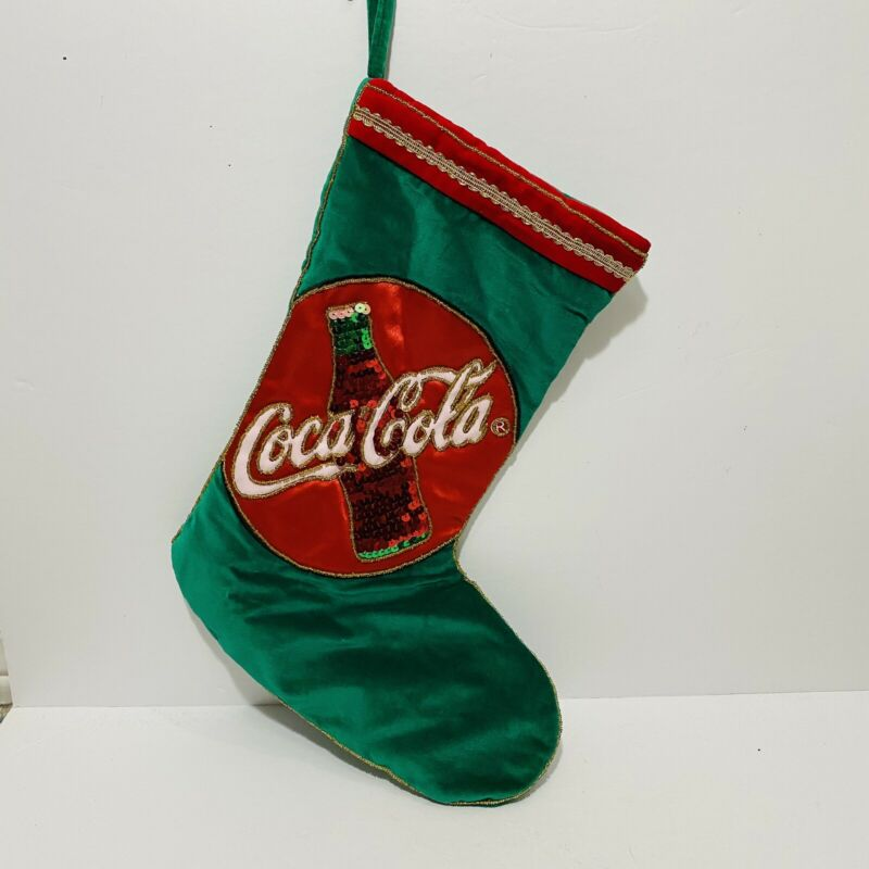 Vintage Coca-Cola Christmas Stocking 15 Inch Holiday Decor Sequin Retro